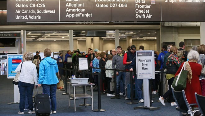 Passengers make their way through security at Mitchell International Airport in March.