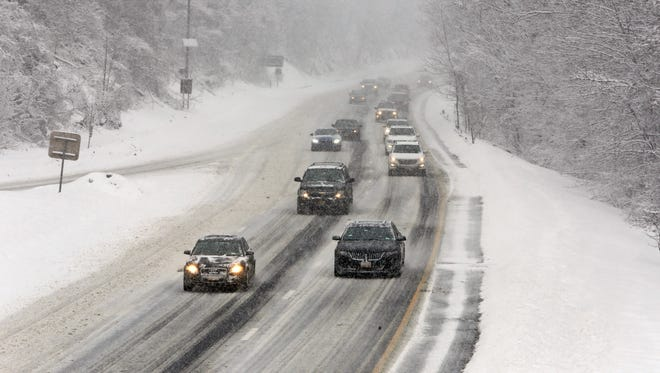 Traffic was slowed due to snow on the Spain Parkway in Greenburgh during a snow storm March 5, 2015.