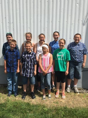 The Kewaunee County 4-H junior dairy judging team placed second in the District 4-H Dairy Judging Contest in Beaver Dam and advanced to the state judging contest July 17. From left to right, front row, are Jacob Treml, Lucas Ledvina, Jadelyn Kroll and Katie Ledvina. Left to right, back row, are Sami Treml, Mercedes Kroll, Brianna Paye and Shawn Ledvina.