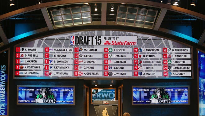 General view of the full first round draft board at the conclusion of the first round of the 2015 NBA Draft at Barclays Center.