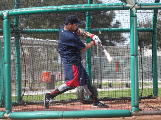 Byung-ho Park, a new addition to the Minnesota Twins, works during batting practice at CenturyLink Sports Complex on Monday.