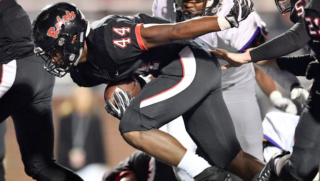 Maryville's Tee Hodge (44) scores a touchdown during the first half of the Class 6A state championship game at Tucker Stadium in Cookeville, Tenn., Friday, Dec. 1, 2017.