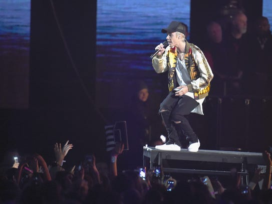 Justin Bieber performs on stage at the BRIT Awards