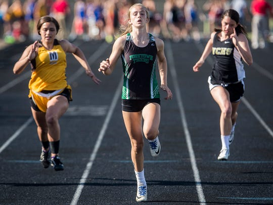 Yorktown's Carley Culberson sprints in the girls track