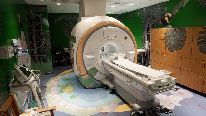 The Magnetic Resonance Imaging machine, or MRI, at the Reuter Outpatient Center of Mission Children's Hospital has a jungle theme. The purchase of MRI suites are one of the purchases governed by certificate of need law restrictions.