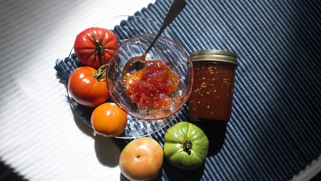 Arnold Wengrow makes tomato jam with his mother's recipe. He says the jam goes great on bread, certain cheeses and meats such as turkey, chicken, lamb or roast beef.