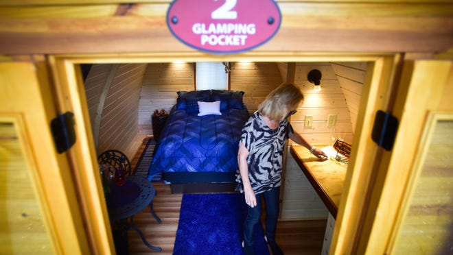Dee Hooper gives a tour of the new glamping pocket cabins located at the Herkimer Diamond KOA Resort on Friday, June 12, 2020.