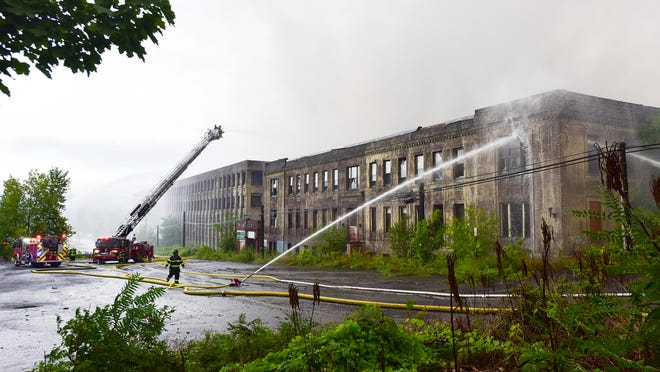 This was the scene in late August when a major fire broke out at the former CharlesTown Mall on Bleecker Street in Utica and the town of Frankfort. An Environmental Protection Agency official is scheduled to visit the site Friday.