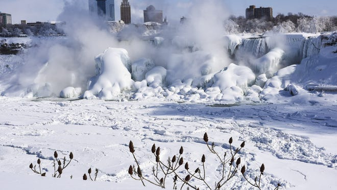 NIAGARA FALLS, CANADA- FEBRUARY 20: The American side of the Niagara Falls are almost completely frozen after a prolonged period of extreme cold on February, 20 2015 in Niagara Falls, Canada. Much of the United States and Canada are experiencing unusually cold weather with record low temperatures and wind chill factors making it feel well below freezing. (Photo by Aaron Vincent Elkaim/Getty Images) *** BESTPIX ***