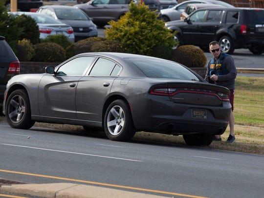 Law enforcement stage on Kirkwood Highway as police