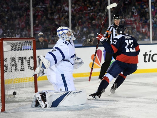 Washington Capitals left wing Jakub Vrana (13), of Czech Republic, scores a goal against Toronto Maple Leafs goaltender Frederik Andersen (31), of Denmark, during the second period of an NHL hockey game, Saturday, March 3, 2018, in Annapolis, Md. (AP Photo/Nick Wass)