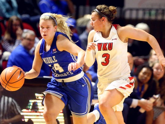 MTSU's Katie Collier (14) brings the ball up the court as Westerns's Sidnee Bopp (3) defends her on Thursday, Jan. 4, 2018, at Western Kentucky University.