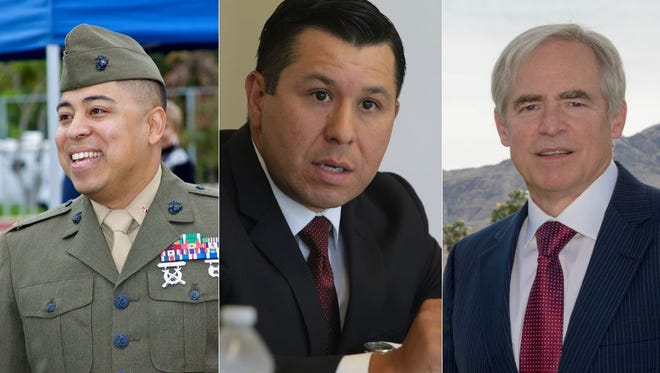 Voters in Assembly District 56 will be able to choose between three candidates on June 5, 2018: Jeff Gonzalez, Eduardo Garcia and Jonathan Reiss (left to right)