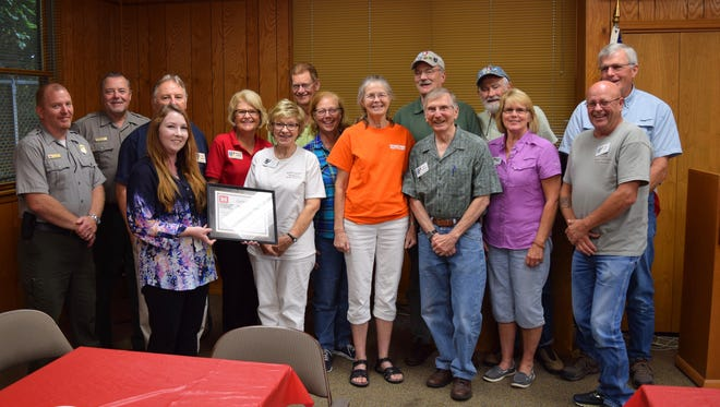 The U. S. Army Corps of Engineers in Mountain Homerecently honored local volunteers, including the trail team of the North Central Arkansas Master Naturalists, who maintain and rebuild hiking trails around Norfork and Bull Shoals Lakes (as well as those of the U.S. National Forest and Park Services). For more information about how to join Master Naturalists, visithttp://wordpress.arkansasmasternaturalists.org/how-do-i-join/