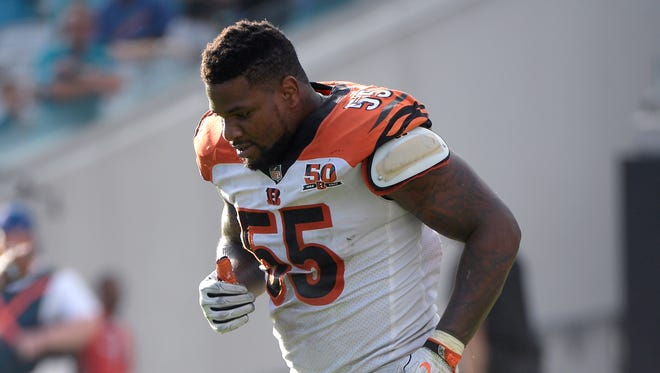 Cincinnati Bengals linebacker Vontaze Burfict (55) jogs off the field after a play during the second half of an NFL football game against the Jacksonville Jaguars Sunday, Nov. 5, 2017, in Jacksonville, Fla.