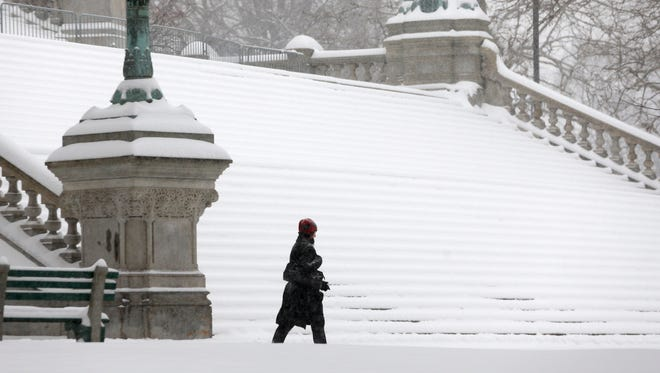 A woman walks in the snow in front of the  Capitol in Albany, N.Y., on Feb. 5, 2014.