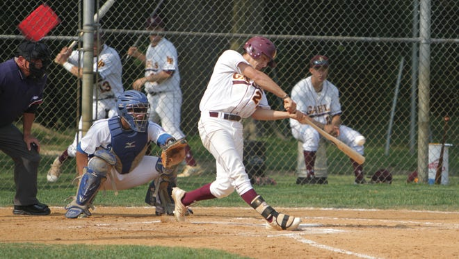 Iona Prep's Anthony Piccolino makes contact with the ball during Game 1 of a CHSAA opening round tournament game between Iona Prep and Salesian at Iona Prep on May 27th, 2016. Iona Prep won 10-5.