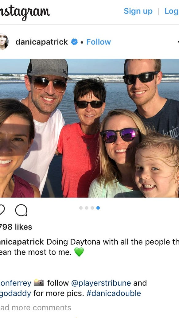 Danica Patrick shares beach photo with Aaron Rodgers and her family