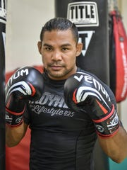 """In this file photo, """"Baby"""" Joe Taimanglo gets ready to train at the iFit gym in Tamuning. He next will fight on July 22 at Bellator 159 at the Kansas Star Arena in Mulvane, Kansas."""