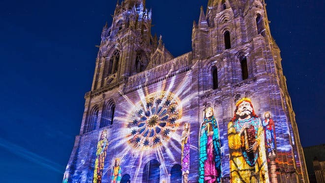 The town of Chartres is worth an overnight visit to take in its nighttime sound-and-light show, which incorporates 24 sites in an illuminated tour.