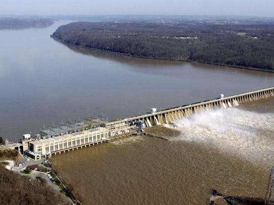 Floodgates are open at the Conowingo Dam. Susquehanna River in this 2005 photo.