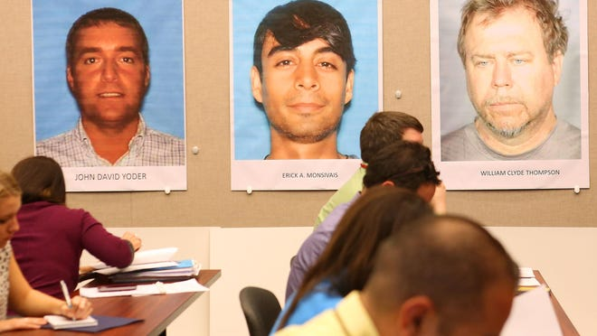 From left, photos of John David Yoder, Erick Monsivais and William Thompson are displayed at a press conference after their arrests.