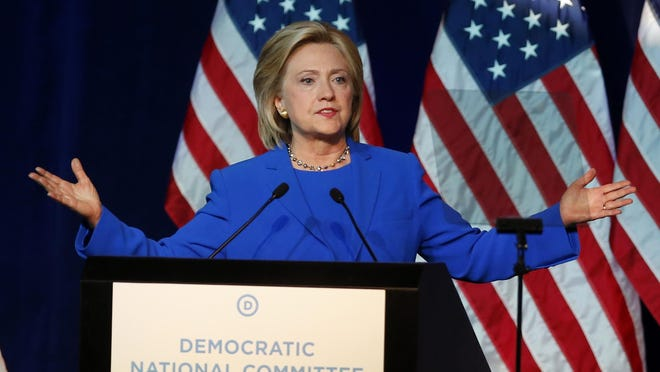 Democratic presidential candidate Hillary Rodham Clinton, addresses the summer meeting of the Democratic National Committee on Friday in Minneapolis.