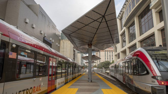 A MetroRail train arrives at the MetroRail Downtown Station that opened this week. Proposition A on the Nov. 3 ballot would fund two new light rail lines in Austin plus a commuter rail line to Colony Park.