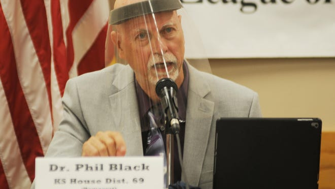 Kansas House of Representatives District 71 Democratic candidate Phil Black answers a community members question during the virtual primary candidate's fo-rum sponsored by the League of Women Voters - Salina on Wednesday evening.