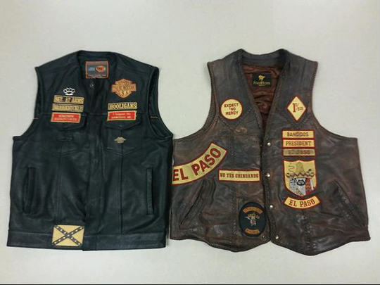 Brass Knuckle and Bandidos motorcycle club biker vests