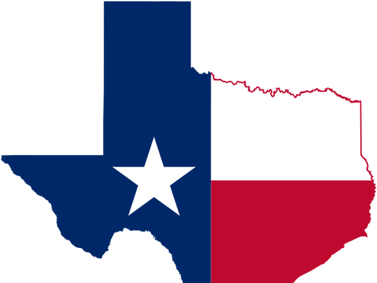 The flag of Texas emblazoned on the state's outline