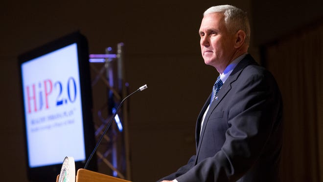 """Gov. Mike Pence in May said he was """"cautiously optimistic"""" that he had come up with a plan to expand health care coverage to uninsured low-income adults."""