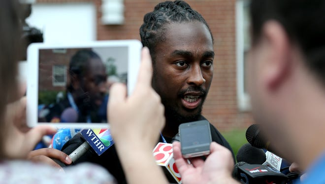 Indianapolis Colts wide receiver T.Y. Hilton speaks to the media after arriving on the first day of training camp, on Wednesday, July 23, 2014, at Anderson University.