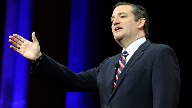 Sen. Ted Cruz speaks at the NRA-ILA Leadership Forum during the NRA Convention at Music City Center in Nashville, Tenn., Friday, April 10, 2015.
