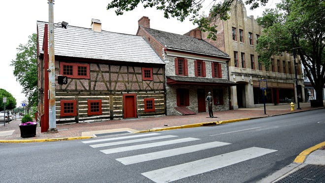 From left, the Golden Plough Tavern and Gen. Gates House, both part of the Colonial Complex, are shown in York City, Tuesday, May 23, 2017. Dawn J. Sagert photo