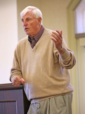 FILE – Bob Knight  speaks at The Barrington of Carmel, a retirement community, Wednesday, May 6, 2015.