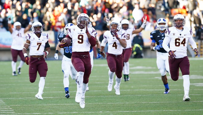 Arizona State's Kalen Ballage returns a kickoff to the 4-yard line against Duke late in the fourth quarter to set up the game-winning touchdown on Saturday, Dec. 27, 2014, at the Sun Bowl in El Paso, Texas.