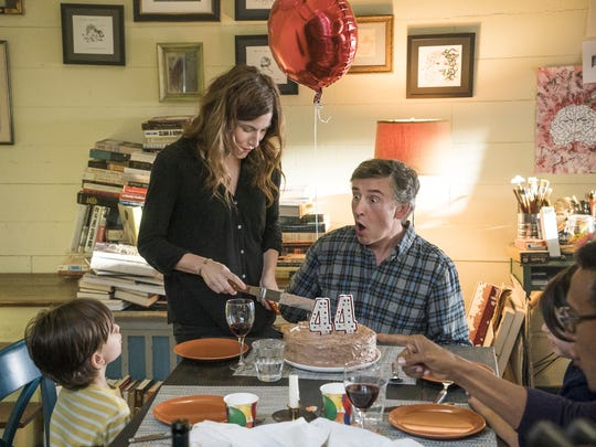 Sawyer Shipman as Julius, Kathryn Hahn as Lee and Steve Coogan as Thom might have some fun, or not, at a birthday party.