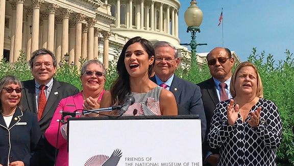 Actress Diane Guerrero speaks on Capitol Hill in support of a national Latino museum in June 2017.