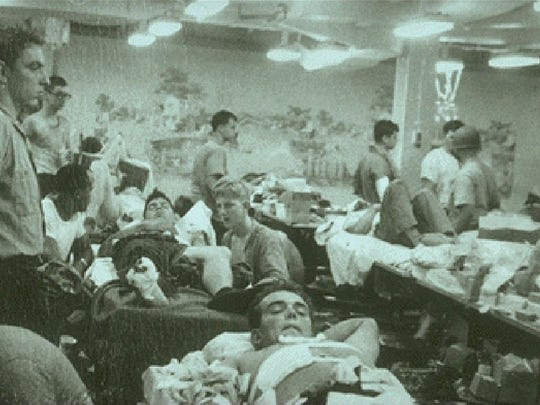 During the Six Day War between Israel and the Arab States, the USS Liberty, an American intelligence ship, was attacked for 75 minutes on June 8, 1967, in international waters by Israeli aircraft and torpedo boats. Thirty-four men died and 171 were wounded. The crew's mess hall was converted to a battle dressing station. (Gannett News Service photo courtesy www.ussliberty.com)