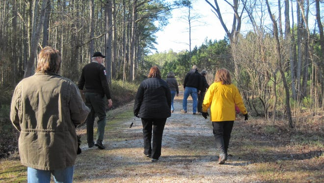 A ranger leads a First Day Hike at Janes Island State Park in Crisfield.