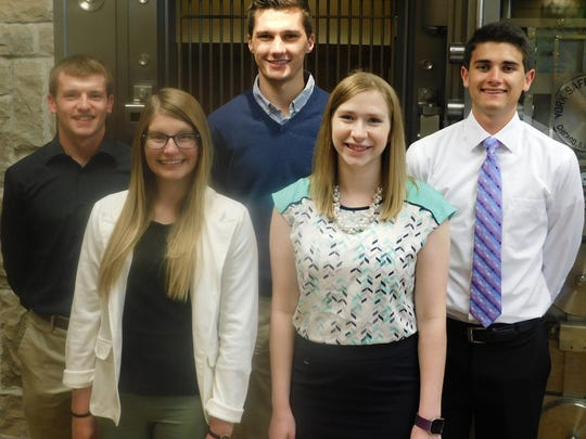 Investors Community Bank's summer interns are (front row, from left) Makayla Klumpyan and Kelly Wilfert and (back row, from left) Colton Henry, Tucker Noe and Parker Mueller.