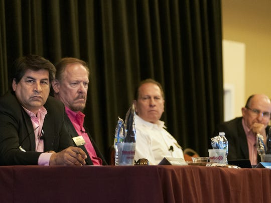 The sharks of Aggie Shark Tank — Dino Cervantes of Cervantes Enterprise, left, along with real estate developer Mickey Clute, Royal Jones of Mesilla Valley Trucking, and Lou Sisbarro of Sisbarro Dealerships, listen to startup contestant Roberto Acosta pitch his Float Spa idea on Wednesday, October 19, 2016.