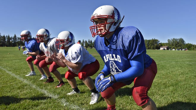 Players line up for a defensive drill during practice Thursday at Apollo High School.