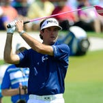 Bubba Watson hits his tee shot on the third hole during the third round of the Masters at Augusta National Golf Club.