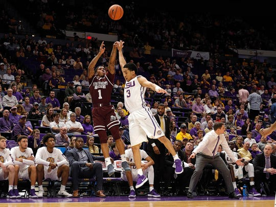 Mississippi State Bulldogs guard Lamar Peters (1) shoots