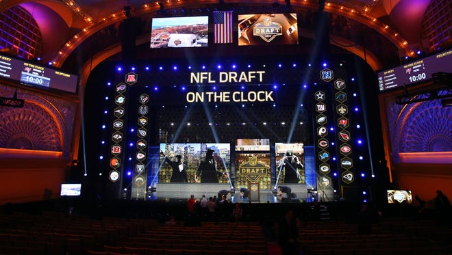 Apr 30, 2015; Chicago, IL, USA; A general view of the stage before the 2015 NFL Draft at the Auditorium Theatre of Roosevelt University.