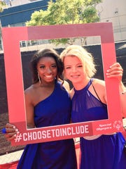 Daina Shilts of Neillsville, right, poses for a photo with Olympic gymnast Simone Biles on the red carpet at the 2017 ESPY Awards on Wednesday, July 12, 2017,