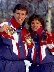 Speedskaters Dan Jansen and Bonnie Blair display gold