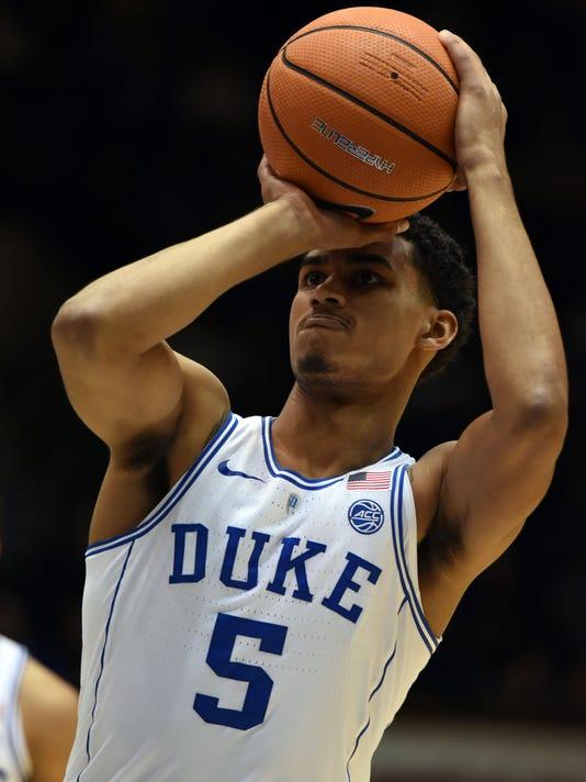 118d5b22a NCAA Basketball: St. Francis (PA) at Duke. Dec 5, 2017; Durham, NC, USA; Duke  Blue Devils forward Jordan Tucker ...